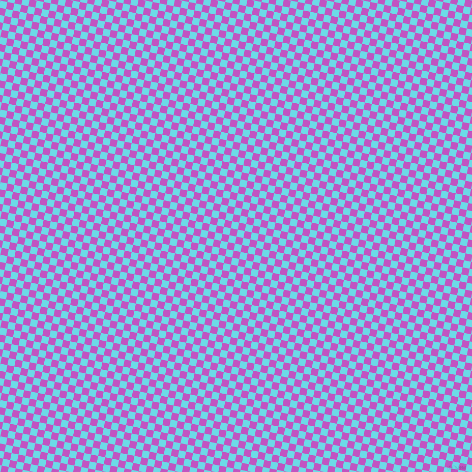 79/169 degree angle diagonal checkered chequered squares checker pattern checkers background, 14 pixel squares size, Fuchsia and Turquoise Blue checkers chequered checkered squares seamless tileable