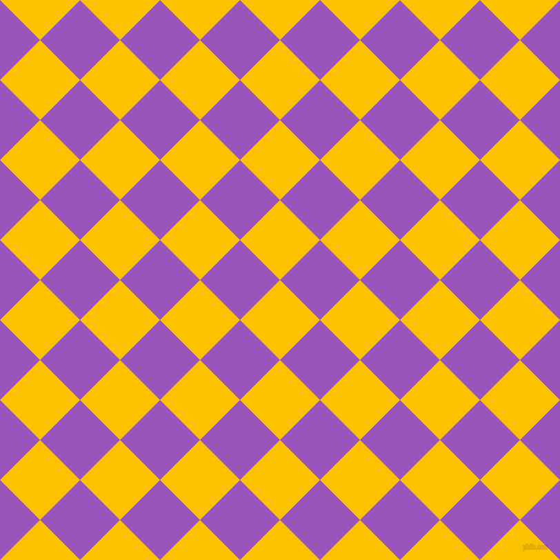 45/135 degree angle diagonal checkered chequered squares checker pattern checkers background, 82 pixel squares size, , Golden Poppy and Deep Lilac checkers chequered checkered squares seamless tileable