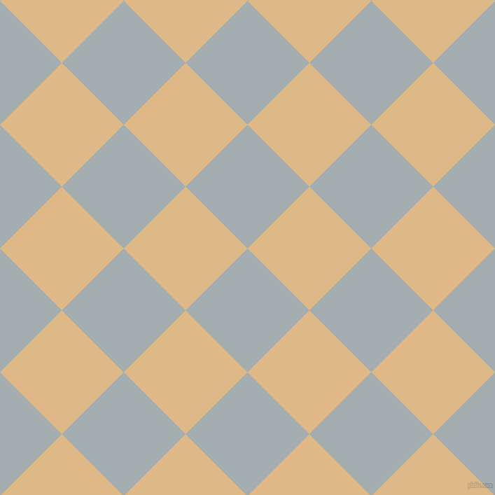 45/135 degree angle diagonal checkered chequered squares checker pattern checkers background, 125 pixel square size, , Gull Grey and Burly Wood checkers chequered checkered squares seamless tileable