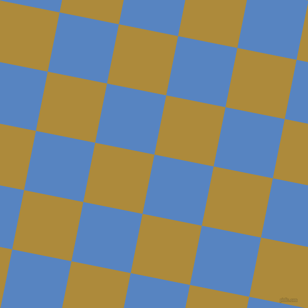 79/169 degree angle diagonal checkered chequered squares checker pattern checkers background, 122 pixel squares size, , Havelock Blue and Alpine checkers chequered checkered squares seamless tileable