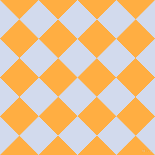45/135 degree angle diagonal checkered chequered squares checker pattern checkers background, 88 pixel squares size, , Hawkes Blue and Yellow Orange checkers chequered checkered squares seamless tileable