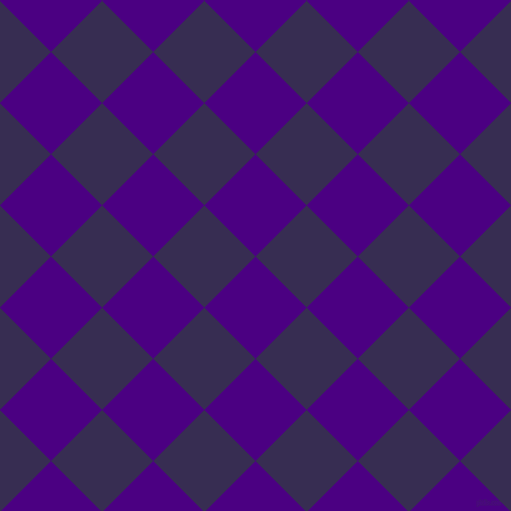 45/135 degree angle diagonal checkered chequered squares checker pattern checkers background, 105 pixel squares size, , Indigo and Cherry Pie checkers chequered checkered squares seamless tileable