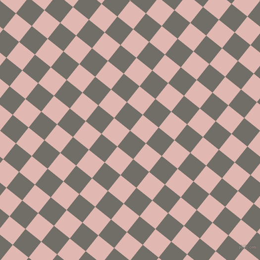 51/141 degree angle diagonal checkered chequered squares checker pattern checkers background, 41 pixel squares size, , Ironside Grey and Cavern Pink checkers chequered checkered squares seamless tileable