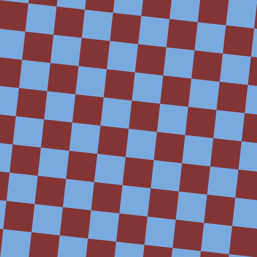 84/174 degree angle diagonal checkered chequered squares checker pattern checkers background, 114 pixel square size, Jordy Blue and Tall Poppy checkers chequered checkered squares seamless tileable