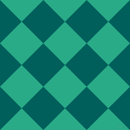 45/135 degree angle diagonal checkered chequered squares checker pattern checkers background, 98 pixel squares size, , Jungle Green and Mosque checkers chequered checkered squares seamless tileable