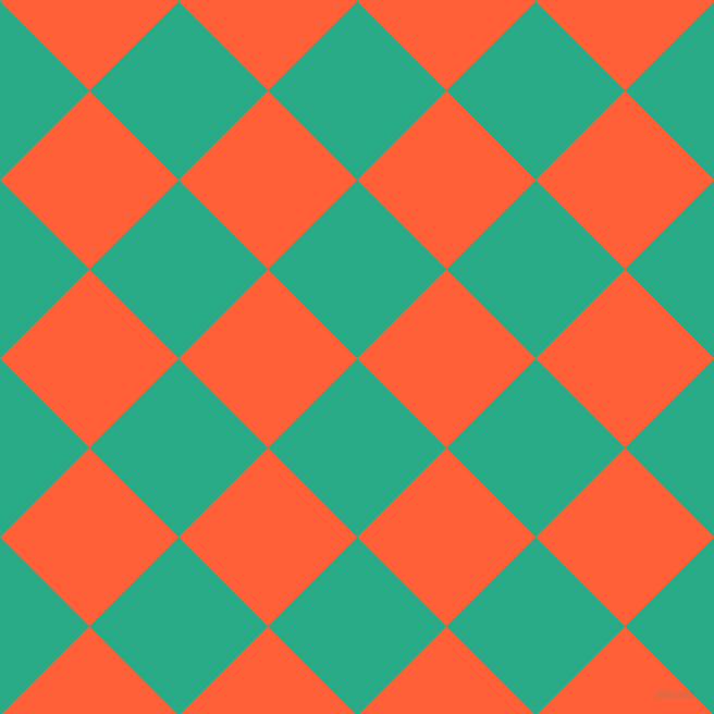 45/135 degree angle diagonal checkered chequered squares checker pattern checkers background, 116 pixel squares size, , Jungle Green and Outrageous Orange checkers chequered checkered squares seamless tileable