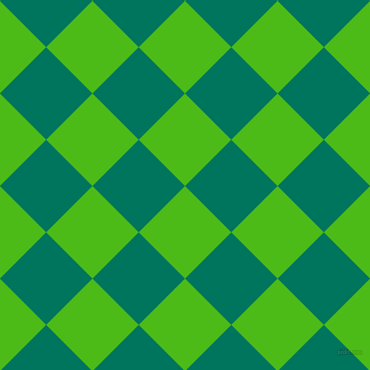 45/135 degree angle diagonal checkered chequered squares checker pattern checkers background, 95 pixel squares size, Kelly Green and Tropical Rain Forest checkers chequered checkered squares seamless tileable