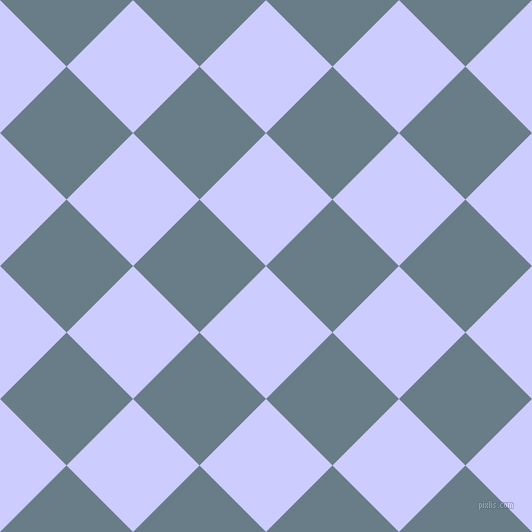 45/135 degree angle diagonal checkered chequered squares checker pattern checkers background, 94 pixel square size, Lavender Blue and Lynch checkers chequered checkered squares seamless tileable
