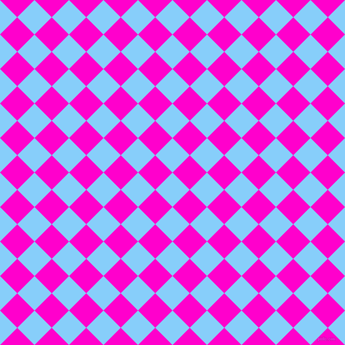 45/135 degree angle diagonal checkered chequered squares checker pattern checkers background, 49 pixel square size, , Light Sky Blue and Hot Magenta checkers chequered checkered squares seamless tileable