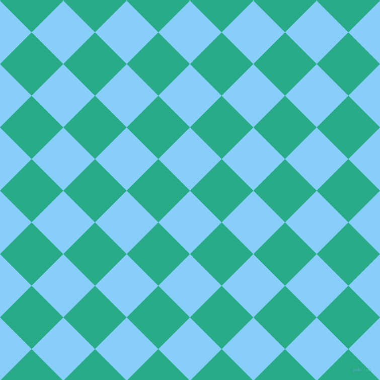 Light sky blue and jungle green checkers chequered checkered squares