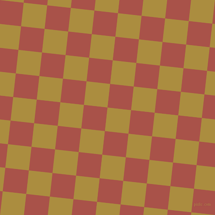 84/174 degree angle diagonal checkered chequered squares checker pattern checkers background, 49 pixel square size, , Luxor Gold and Apple Blossom checkers chequered checkered squares seamless tileable