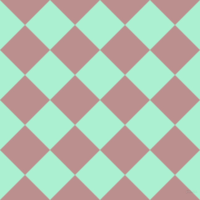 45/135 degree angle diagonal checkered chequered squares checker pattern checkers background, 114 pixel square size, , Magic Mint and Rosy Brown checkers chequered checkered squares seamless tileable