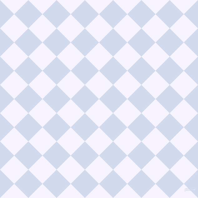 45/135 degree angle diagonal checkered chequered squares checker pattern checkers background, 64 pixel squares size, , Magnolia and Hawkes Blue checkers chequered checkered squares seamless tileable