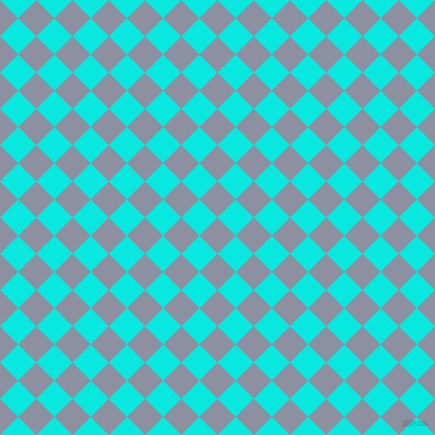 45/135 degree angle diagonal checkered chequered squares checker pattern checkers background, 37 pixel square size, , Manatee and Bright Turquoise checkers chequered checkered squares seamless tileable