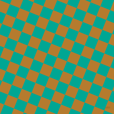 68/158 degree angle diagonal checkered chequered squares checker pattern checkers background, 43 pixel squares size, , Mandalay and Persian Green checkers chequered checkered squares seamless tileable