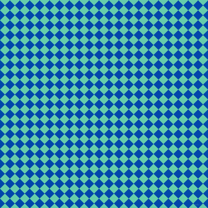 45/135 degree angle diagonal checkered chequered squares checker pattern checkers background, 23 pixel squares size, , Medium Aquamarine and Cobalt checkers chequered checkered squares seamless tileable