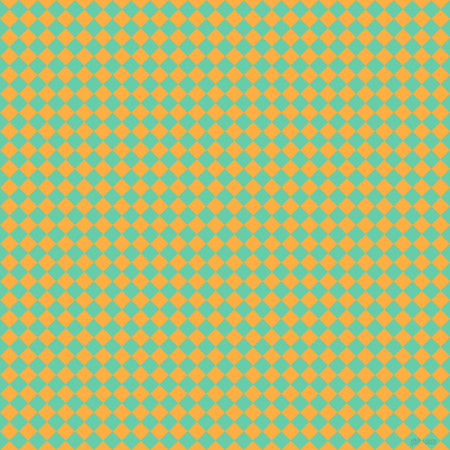 45/135 degree angle diagonal checkered chequered squares checker pattern checkers background, 19 pixel square size, , Medium Aquamarine and Yellow Orange checkers chequered checkered squares seamless tileable