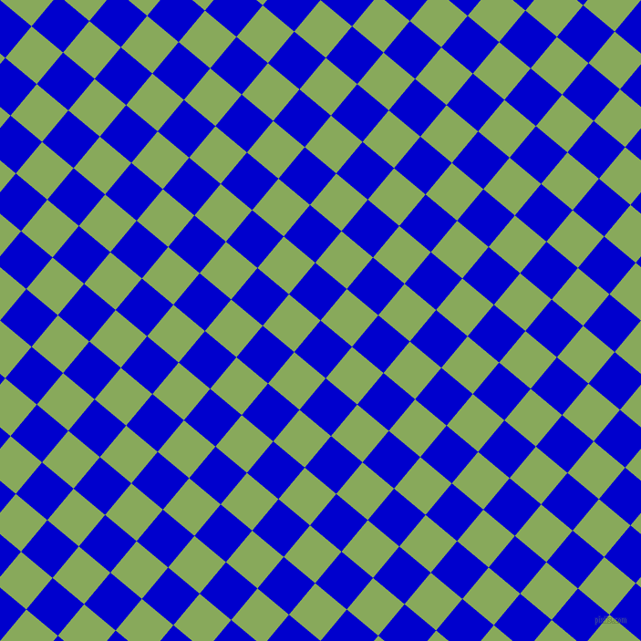 50/140 degree angle diagonal checkered chequered squares checker pattern checkers background, 45 pixel squares size, , Medium Blue and Chelsea Cucumber checkers chequered checkered squares seamless tileable