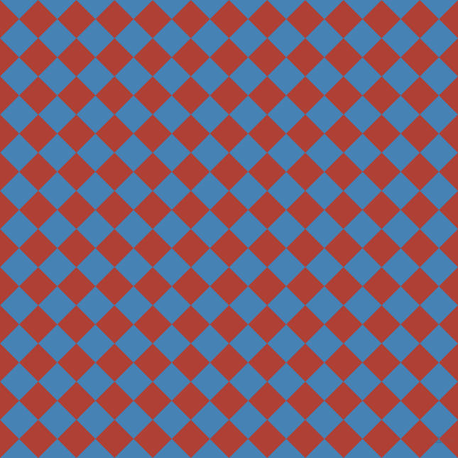 45/135 degree angle diagonal checkered chequered squares checker pattern checkers background, 38 pixel square size, , Medium Carmine and Steel Blue checkers chequered checkered squares seamless tileable