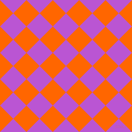 45/135 degree angle diagonal checkered chequered squares checker pattern checkers background, 64 pixel squares size, , Medium Orchid and Safety Orange checkers chequered checkered squares seamless tileable