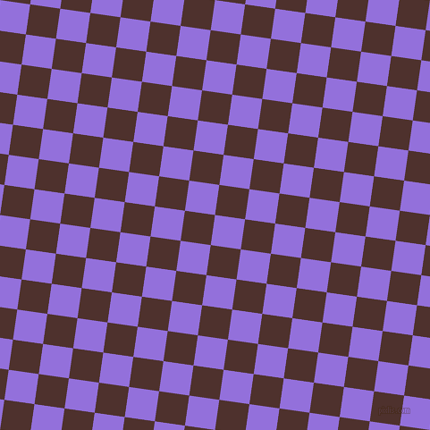 82/172 degree angle diagonal checkered chequered squares checker pattern checkers background, 34 pixel squares size, , Medium Purple and Espresso checkers chequered checkered squares seamless tileable