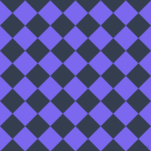 45/135 degree angle diagonal checkered chequered squares checker pattern checkers background, 60 pixel squares size, Medium Slate Blue and Cloud Burst checkers chequered checkered squares seamless tileable