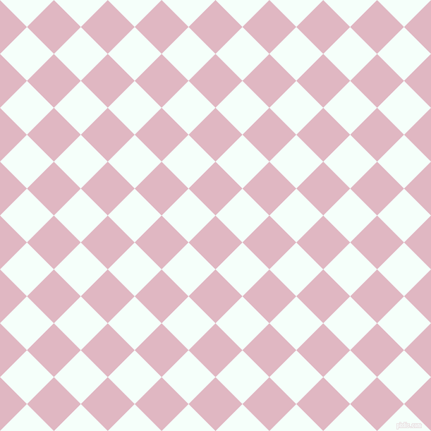 45/135 degree angle diagonal checkered chequered squares checker pattern checkers background, 54 pixel square size, , Melanie and Mint Cream checkers chequered checkered squares seamless tileable