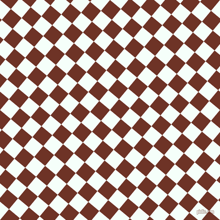 50/140 degree angle diagonal checkered chequered squares checker pattern checkers background, 29 pixel squares size, , Mint Cream and Pueblo checkers chequered checkered squares seamless tileable