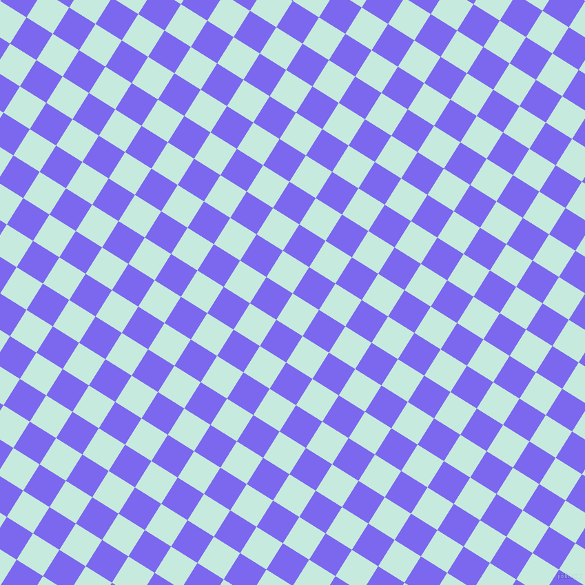 58/148 degree angle diagonal checkered chequered squares checker pattern checkers background, 45 pixel square size, , Mint Tulip and Medium Slate Blue checkers chequered checkered squares seamless tileable