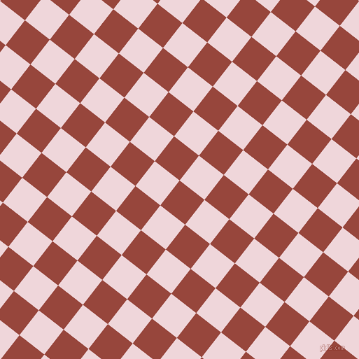 52/142 degree angle diagonal checkered chequered squares checker pattern checkers background, 45 pixel square size, , Mojo and Pale Rose checkers chequered checkered squares seamless tileable