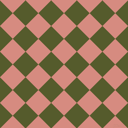 45/135 degree angle diagonal checkered chequered squares checker pattern checkers background, 62 pixel square size, My Pink and Saratoga checkers chequered checkered squares seamless tileable