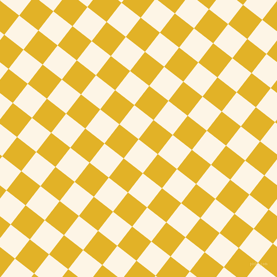 52/142 degree angle diagonal checkered chequered squares checker pattern checkers background, 48 pixel square size, Old Lace and Gold Tips checkers chequered checkered squares seamless tileable