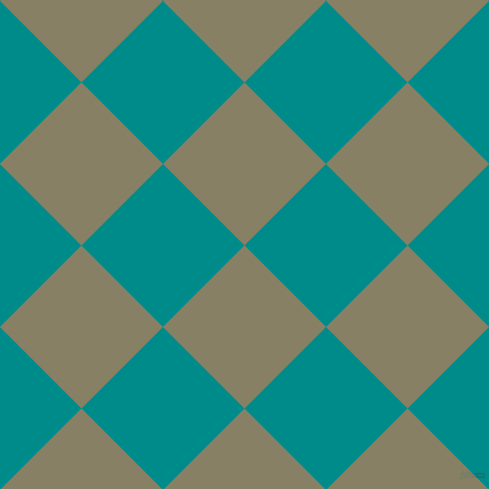 45/135 degree angle diagonal checkered chequered squares checker pattern checkers background, 166 pixel square size, , Olive Haze and Dark Cyan checkers chequered checkered squares seamless tileable