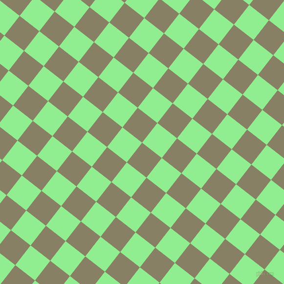 52/142 degree angle diagonal checkered chequered squares checker pattern checkers background, 51 pixel square size, , Olive Haze and Light Green checkers chequered checkered squares seamless tileable