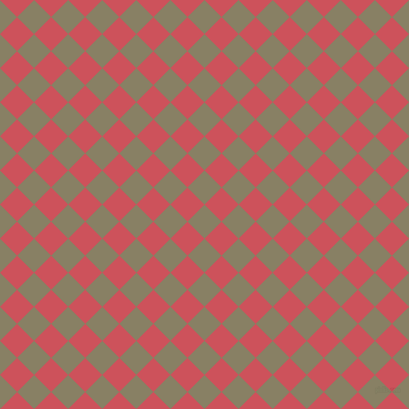 45/135 degree angle diagonal checkered chequered squares checker pattern checkers background, 34 pixel square size, , Olive Haze and Mandy checkers chequered checkered squares seamless tileable