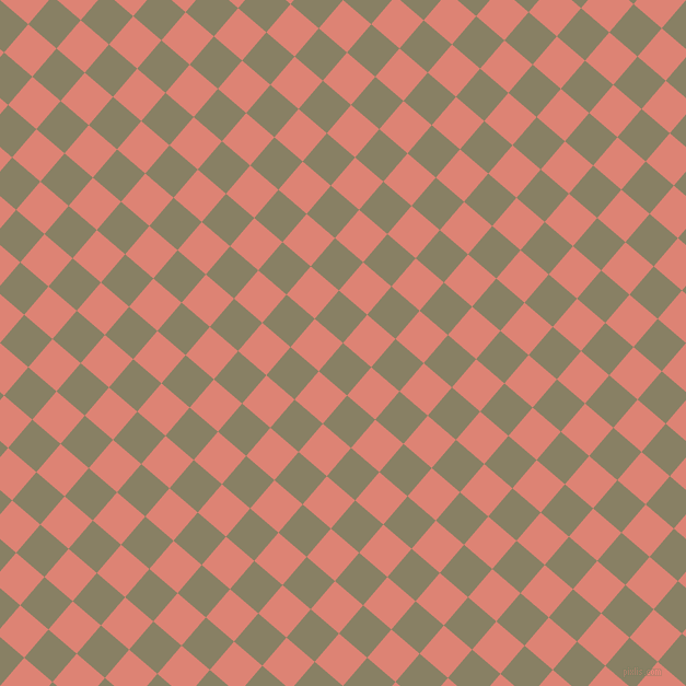 49/139 degree angle diagonal checkered chequered squares checker pattern checkers background, 34 pixel square size, , Olive Haze and New York Pink checkers chequered checkered squares seamless tileable