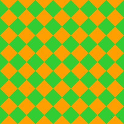 Orange Peel And Lime Green Checkers Chequered Checkered