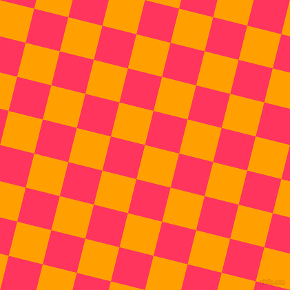 76/166 degree angle diagonal checkered chequered squares checker pattern checkers background, 51 pixel squares size, , Orange Peel and Radical Red checkers chequered checkered squares seamless tileable