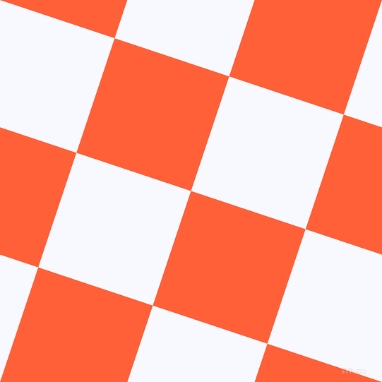 72/162 degree angle diagonal checkered chequered squares checker pattern checkers background, 171 pixel square size, Outrageous Orange and Ghost White checkers chequered checkered squares seamless tileable