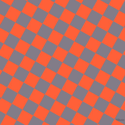 61/151 degree angle diagonal checkered chequered squares checker pattern checkers background, 50 pixel squares size, , Outrageous Orange and Topaz checkers chequered checkered squares seamless tileable