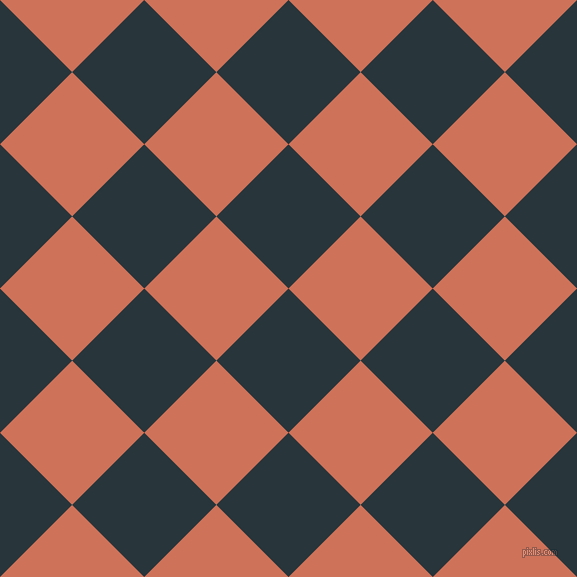 45/135 degree angle diagonal checkered chequered squares checker pattern checkers background, 102 pixel square size, , Oxford Blue and Japonica checkers chequered checkered squares seamless tileable