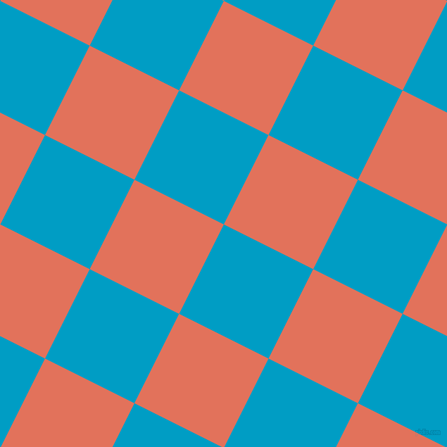 63/153 degree angle diagonal checkered chequered squares checker pattern checkers background, 142 pixel squares size, , Pacific Blue and Terra Cotta checkers chequered checkered squares seamless tileable