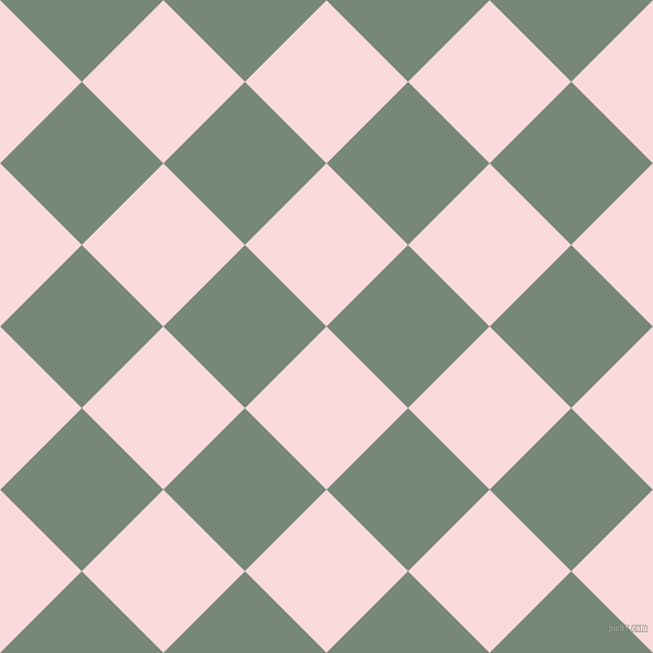 45/135 degree angle diagonal checkered chequered squares checker pattern checkers background, 106 pixel square size, , Pale Pink and Davy