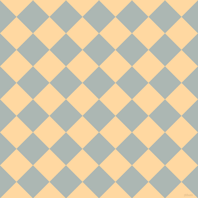 45/135 degree angle diagonal checkered chequered squares checker pattern checkers background, 97 pixel square size, , Periglacial Blue and Frangipani checkers chequered checkered squares seamless tileable