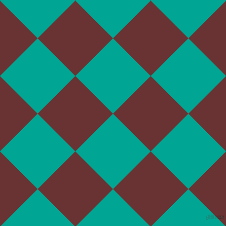 45/135 degree angle diagonal checkered chequered squares checker pattern checkers background, 108 pixel squares size, , Persian Green and Persian Plum checkers chequered checkered squares seamless tileable