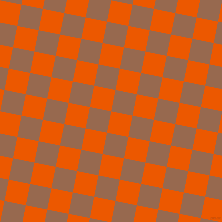 79/169 degree angle diagonal checkered chequered squares checker pattern checkers background, 76 pixel squares size, , Persimmon and Dark Tan checkers chequered checkered squares seamless tileable