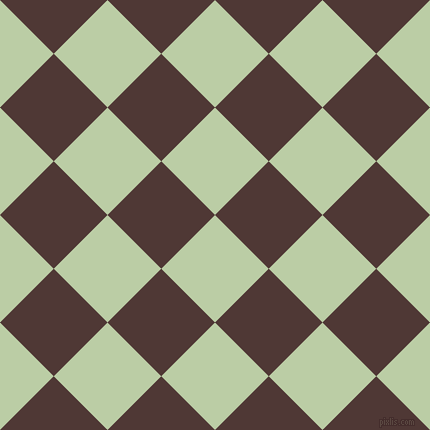 45/135 degree angle diagonal checkered chequered squares checker pattern checkers background, 76 pixel squares size, , Pixie Green and Cocoa Bean checkers chequered checkered squares seamless tileable