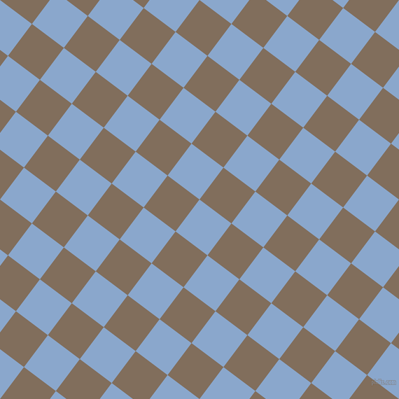 53/143 degree angle diagonal checkered chequered squares checker pattern checkers background, 57 pixel square size, , Polo Blue and Donkey Brown checkers chequered checkered squares seamless tileable