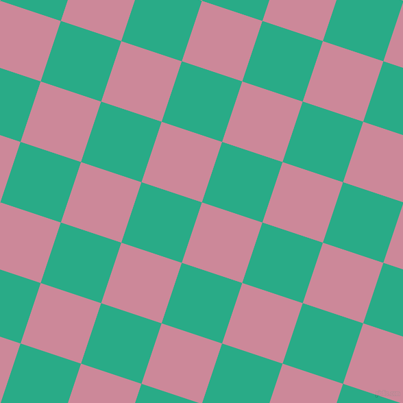 72/162 degree angle diagonal checkered chequered squares checker pattern checkers background, 93 pixel square size, Puce and Jungle Green checkers chequered checkered squares seamless tileable