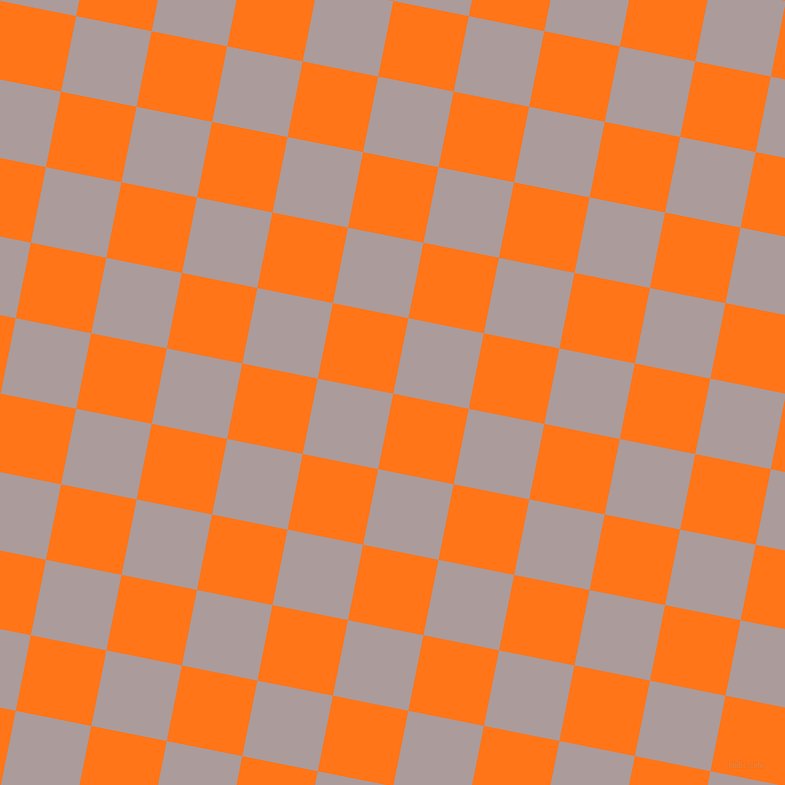 79/169 degree angle diagonal checkered chequered squares checker pattern checkers background, 77 pixel square size, , Pumpkin and Dusty Grey checkers chequered checkered squares seamless tileable